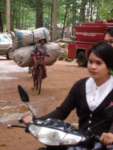 bicycle rider in cambodia